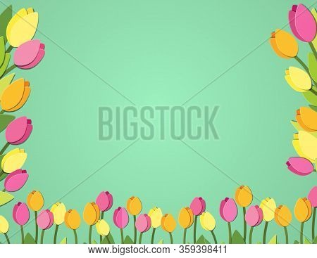 Spring Paper Cut Tulips Banner. Flower Festival Space Fort Text Postcard. Letter Format Greeting Car