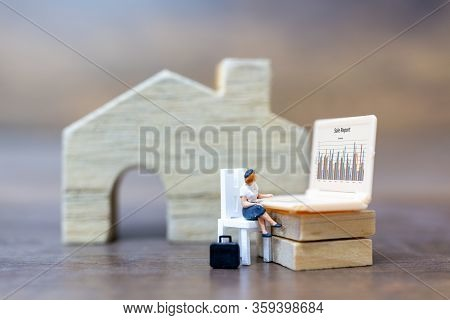 Miniature People Working With Computer Labtop , Work At Home Concept