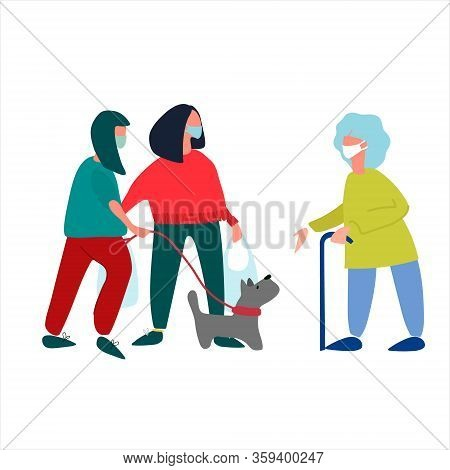 Volunteers Help Elderly Woman With Shopping And Dog Walking. Social Work During Quarantine. Covid-19