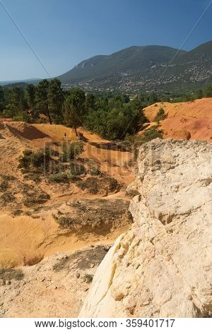 Ocher Earth Color Quarries Near Roussillon In France During A Sunny Day