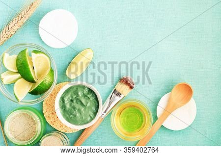 Skincare Treatment With Natural Products, Facial Clay Mask, Green Bentonite Powder Mix With Lime Cit