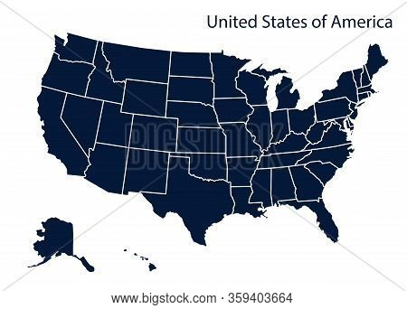Map Of America.usa Map Isolated On White Background. Vector Template.