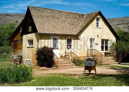 Capitol Reef National Park, Utah, United States - July 8 2009: Gifford Homestead Farmhouse In Capito