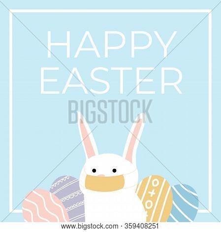 Coronavirus Bunny With Medical Mask. Coronavirus Easter Rabbit. Easter Bunny With Easter Egg Isolate