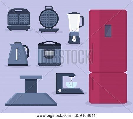 Set Of Household Appliances Design Flat. Appliances Household, Household Items, Washing Machine, Kit