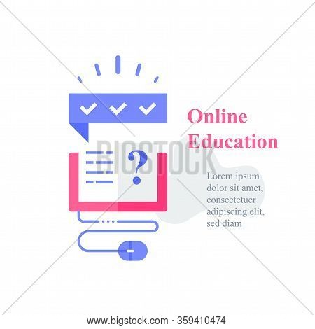 Online Education Concept, Open Book And Question Mark, Learning Resources, Study Course, Exam Prepar