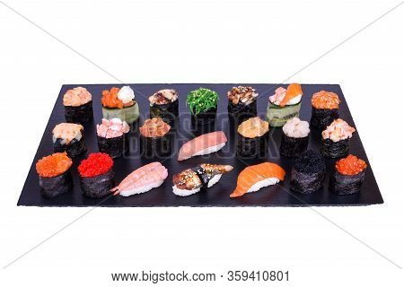 Set Of Gunkan Maki Sushi With Different Types Of Fish Salmon, Scallop, Perch, Eel, Shrimp And Caviar