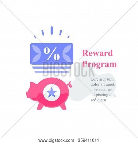 Piggy And Coupon, Reward Program, Loyalty Present, Incentive Concept, Earn Points, Redeem Gift, Spec