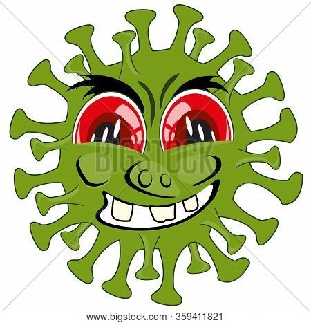 Vector Illustration To Comic Green Infection Coronavirus