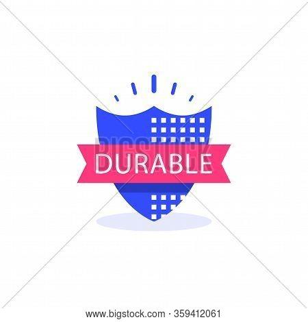 Durable Concept, Quality Guarantee, Warranty Shield, Vector Icon