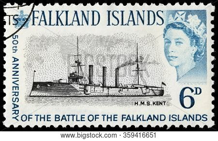 Luga, Russia - October 20, 2019: A Stamp Printed By Falkland Islands  Shows Image Portrait Of Queen
