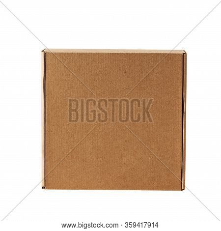 Kraft Cardboard Square Closed Box Top View On A White Background.