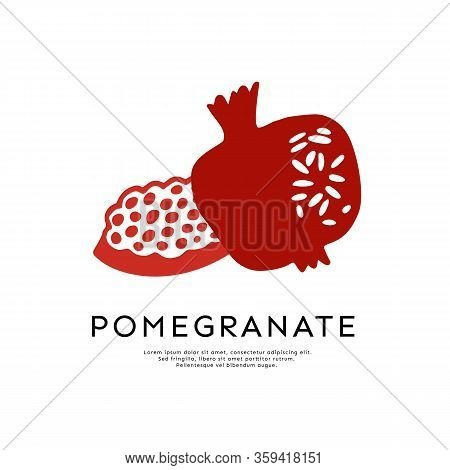 Pomegranate Vector Logo Isolated On White Background. Pomegranate And Seed For Emblem, Label For Sha