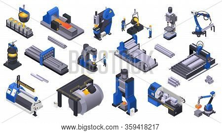 Colored Isometric Icons Set With Metal Industry  Plant Machinery And Workers 3d Isolated Vector Illu