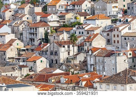 Hvar, Croatia - Circa September 2016: Beautiful View Of The Town Of Hvar On The Island Of Hvar In Cr