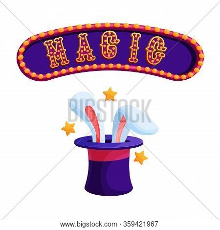 Magic Trick With Rabbit Flat Vector Illustration. Focus With Magician Hat And Bunny Ears. Circus Sho