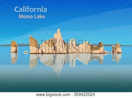 Mono Lake, Saline Soda Lake In Mono County, California, United State, Vector Illustration