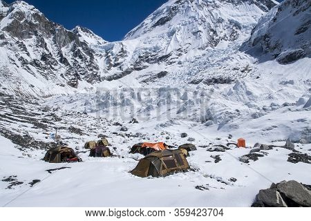 Expedition At Everest Base Camp  Circa October 2013 In Everest Base Camp.
