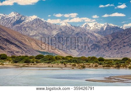 Beautiful View Of The Pamir, Afghanistan And Panj River Along The Wachan Corridor