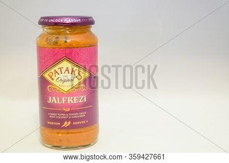 Torrevieja, Valenciana, Spain - Apr 04 2020 : Jar Of Pataks Jalfrezi Sauce With Copy Space.