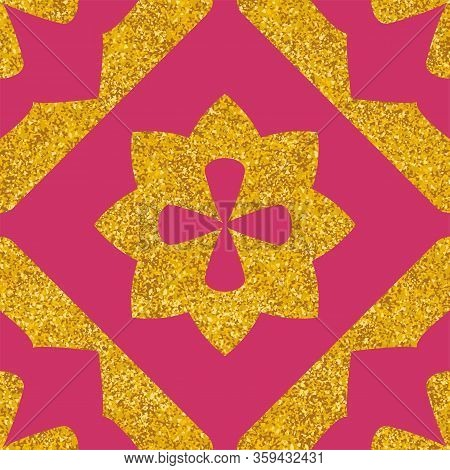 Tile Decorative Floor Pink And Gold Tiles Vector Pattern Or Seamless Background