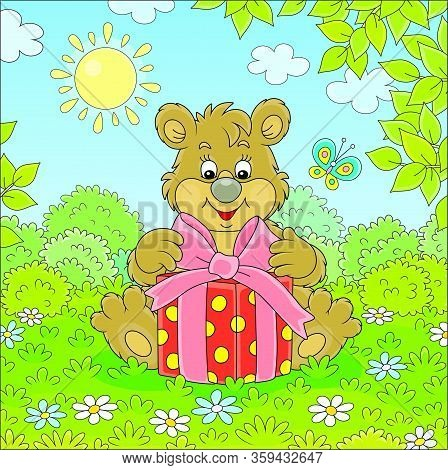 Friendly Smiling Little Brown Bear Cub Holding A Beautiful Box With A Holiday Gift On Green Grass Of