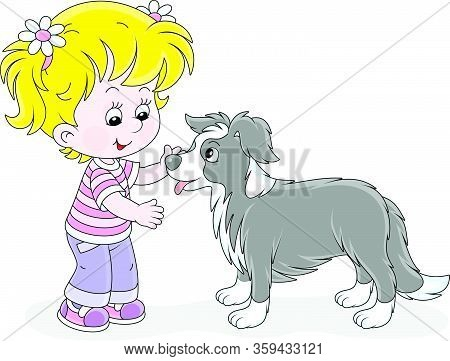 Cheerful Little Girl Walking And Playing With A Small Border Collie, Vector Cartoon Illustration On
