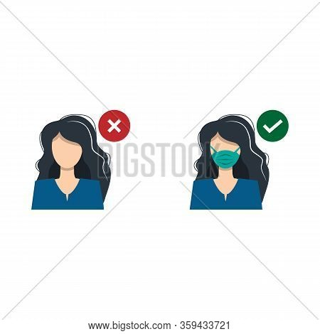 A Girl Woman With A Medical Mask And A Guy Without A Mask. Entrance Only With A Medical Mask. Fight