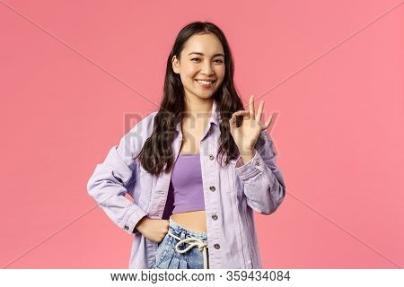 No Problem, Guarantee You All Good. Carefree Smiling Young Stylish Girl Say All Alright, Show Okay G