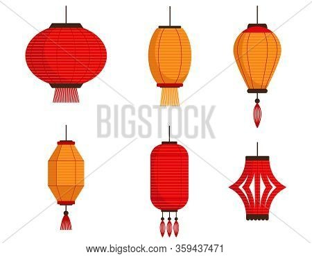 Vector Set Of Chinese Lanterns. Paper Lanterns In Flat Style Isolated On White Background. Classic A