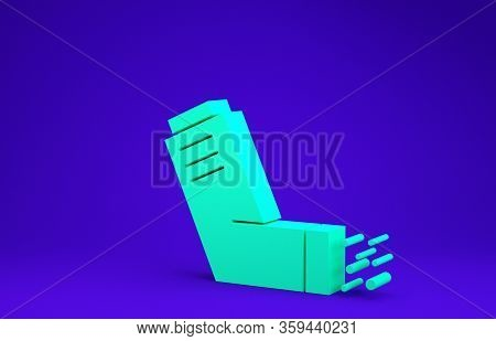 Green Inhaler Icon Isolated On Blue Background. Breather For Cough Relief, Inhalation, Allergic Pati