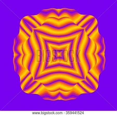 Optical Illusion Lines Background. Abstract 3d Purple And Yellow Illusions. Eps 10 Vector Illustrati