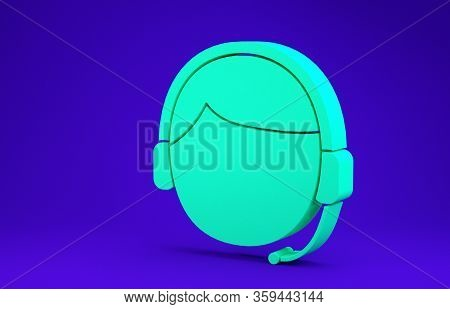 Green Man With A Headset Icon Isolated On Blue Background. Support Operator In Touch. Concept For Ca