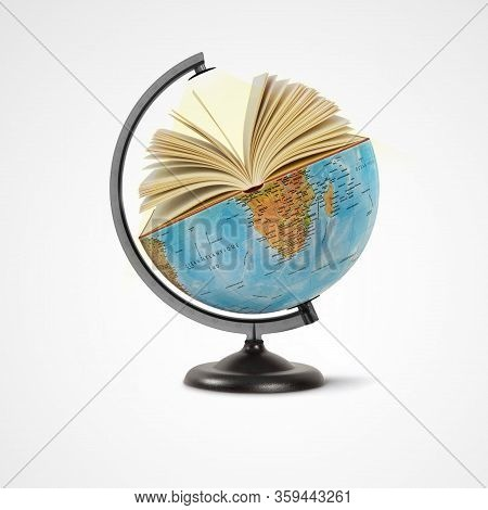 World Book Day, Open Book Over The Planet On Isolated White Background, Mental Health Day Concept, B