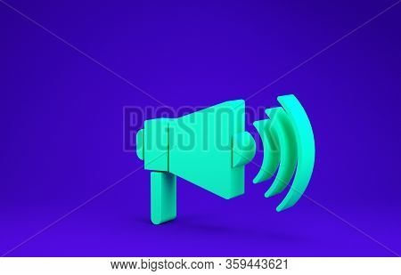 Green Megaphone Icon Isolated On Blue Background. Loud Speach Alert Concept. Bullhorn For Mouthpiece