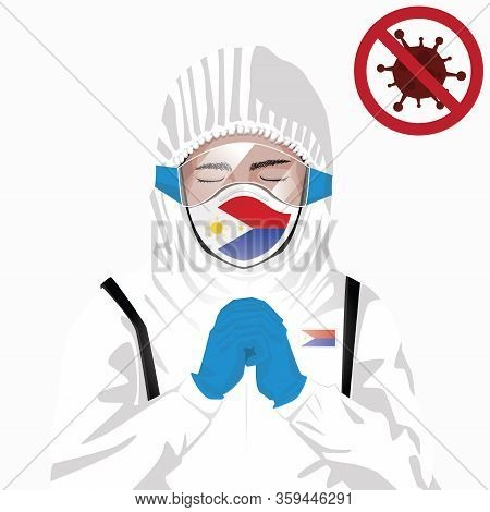 Covid-19 Or Coronavirus Concept. Filipino Medical Staff Wearing Mask In Protective Clothing And Pray