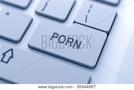 Porn button on keyboard with soft focus poster