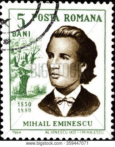 02.09.2020 Divnoe Stavropol Territory Russia The Postage Stamp Romania 1964 Personalities Mikhail Em