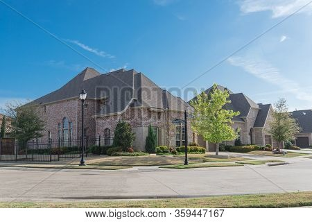 Row Of Brand New Two Story Houses In Upscale Residential Neighborhood In Suburbs Dallas, Texas