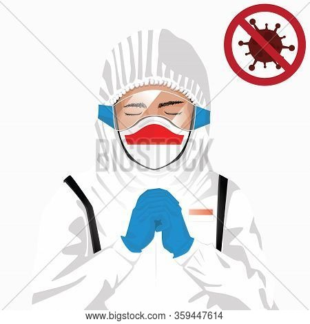 Covid-19 Or Coronavirus Concept. Indonesian Medical Staff Wearing Mask In Protective Clothing And Pr
