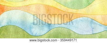Abstract rainbow acrylic and watercolor wave painting background. Texture paper. Horizontal long banner.