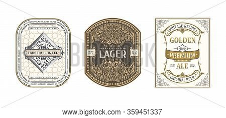 Set Of Vintage Frames For Labels. Gold Stickers Bottle Beer