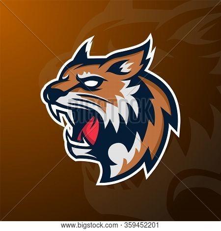 Angry Wildcat Mascot Sport Logo, Badge And Emblem.