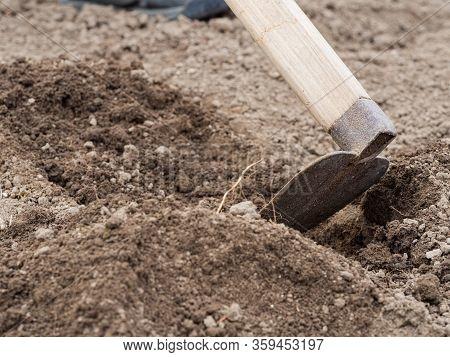 Hoe In Soil, Gardening In Springtime, Preparing A Flower Bed