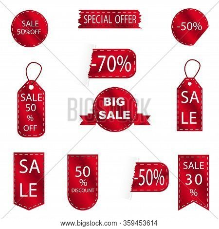 Red Discount Sale Label Set. Vector Tag, Promo Sign, Sticker With Templates. Promo Icons, Collection