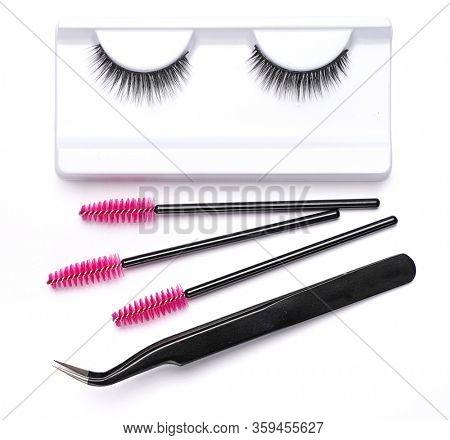 False eyelashes brushes and tweezers tools eyelash extension accessories