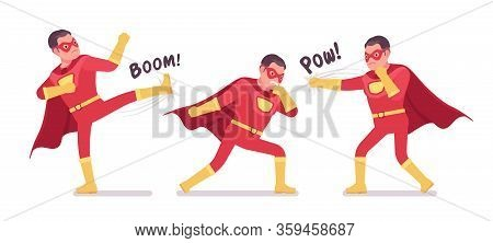 Male Super Hero In Classic Red Costume Fighting Poses. Strong Brave Warrior, Superpower Man With Sup