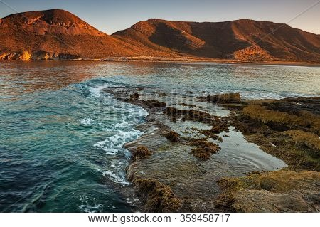 Sunset In The Playazo De Rodalquilar. Natural Park Of Cabo De Gata. Spain.