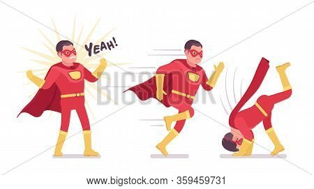Male Super Hero In Classic Red Costume, Different Poses. Heroic Strong Warrior, Superpower Man With