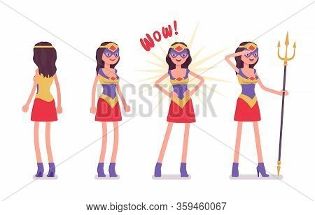Female Super Hero In Attractive Costume. Effective Wonder Warrior, Superpower Sexy Woman With Superi